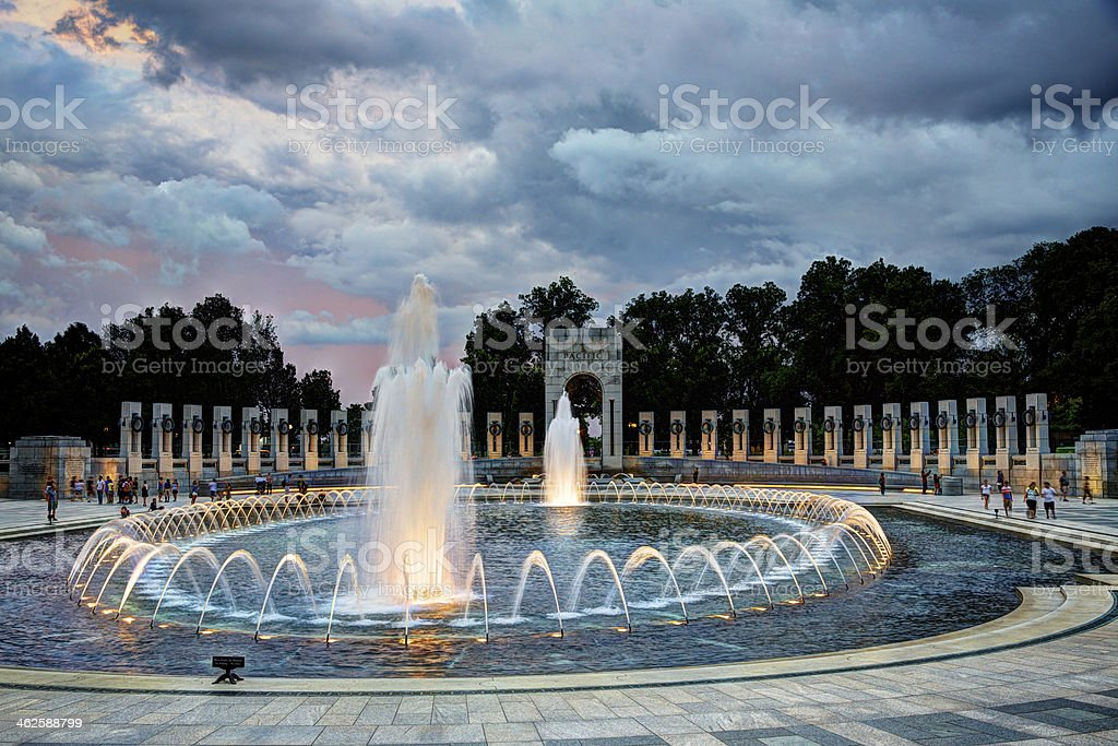 World War II Memorial in Washington, DC at Sunset stock photo