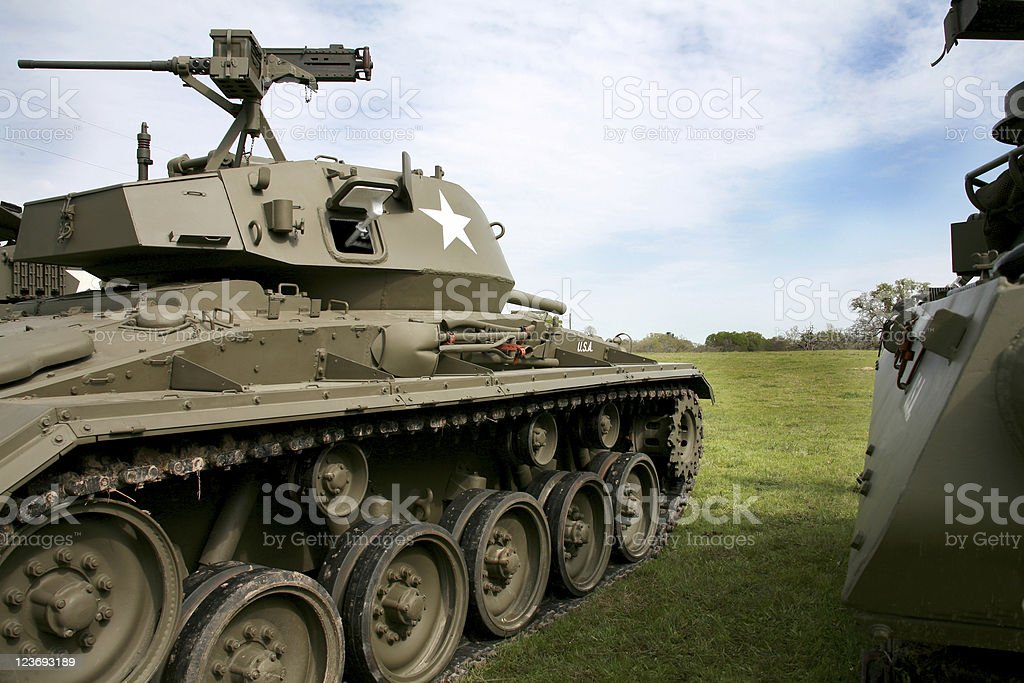 World War II Military Tanks. Weapons. Field. stock photo