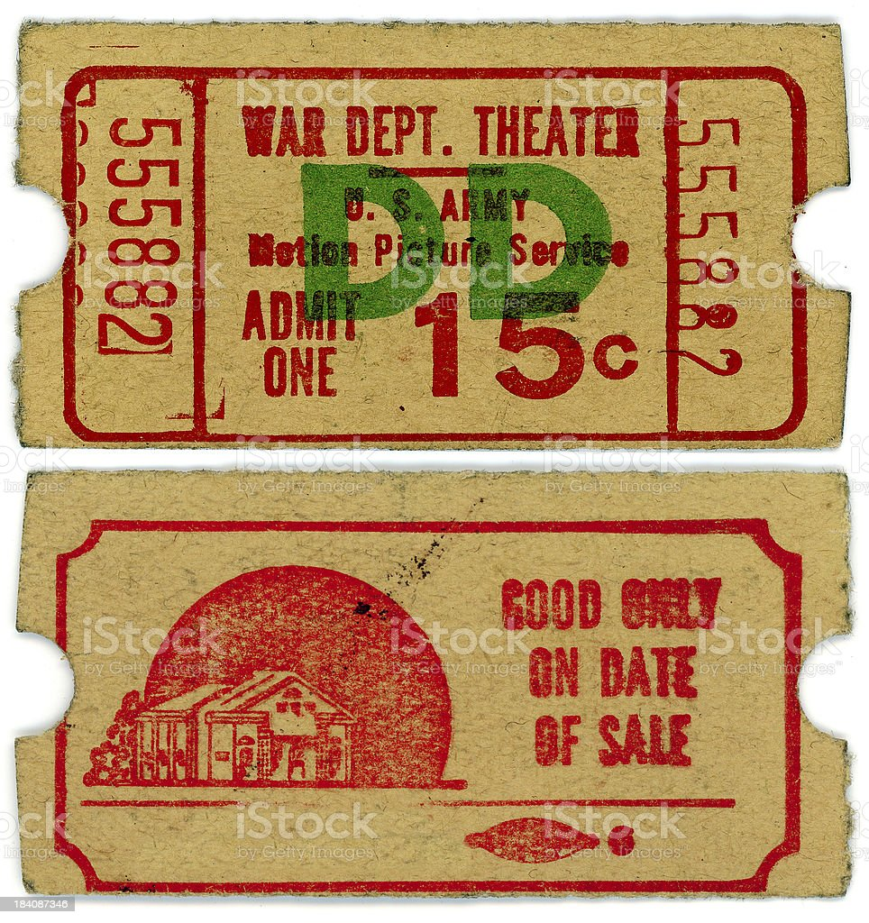 World War II Military Theater Ticket Stub Isolated on White royalty-free stock photo