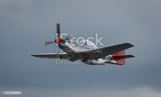 HAMPSHIRE, UK - JULY, 2016: A World War II P-51 Mustang in flight. July 16, 2016 Hampshire, England