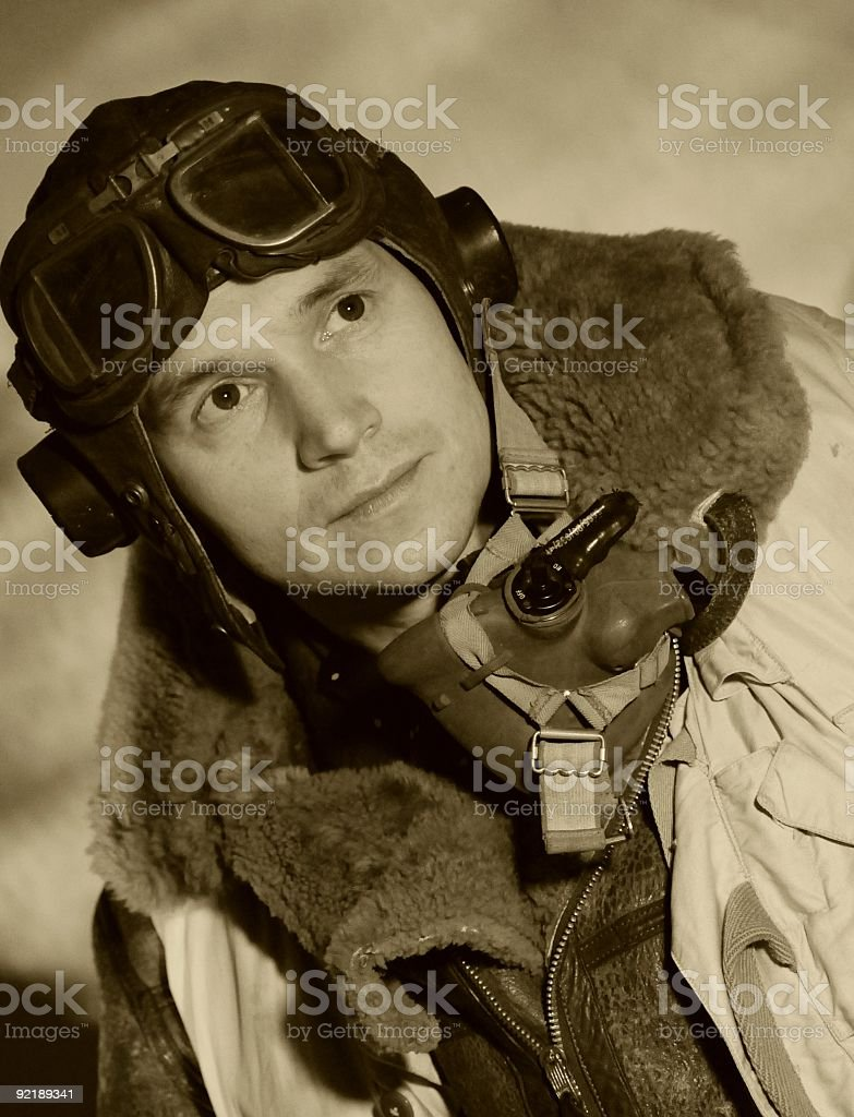 World War II RAF pilot with goggles stock photo