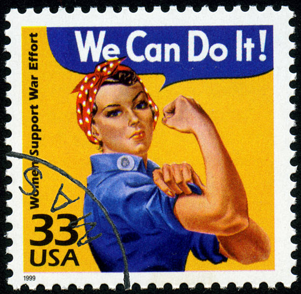World War II Rosie the Riveter stamp A United States postage stamp issued in 1999 commemorating women's support of the World War II war effort. war effort stock pictures, royalty-free photos & images