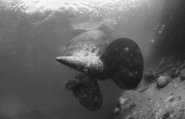 World War II shipwreck stock photo