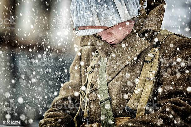 World War II Soldier in a Blizzard