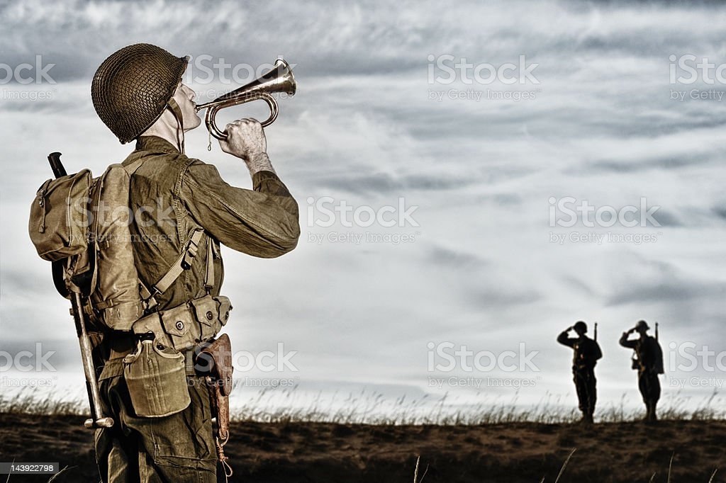 World War II Soldier Playing Taps stock photo