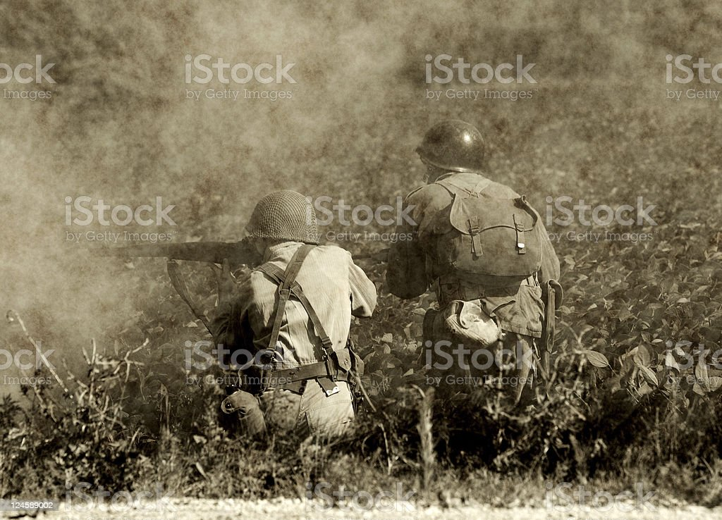 World War II soldiers in battle stock photo