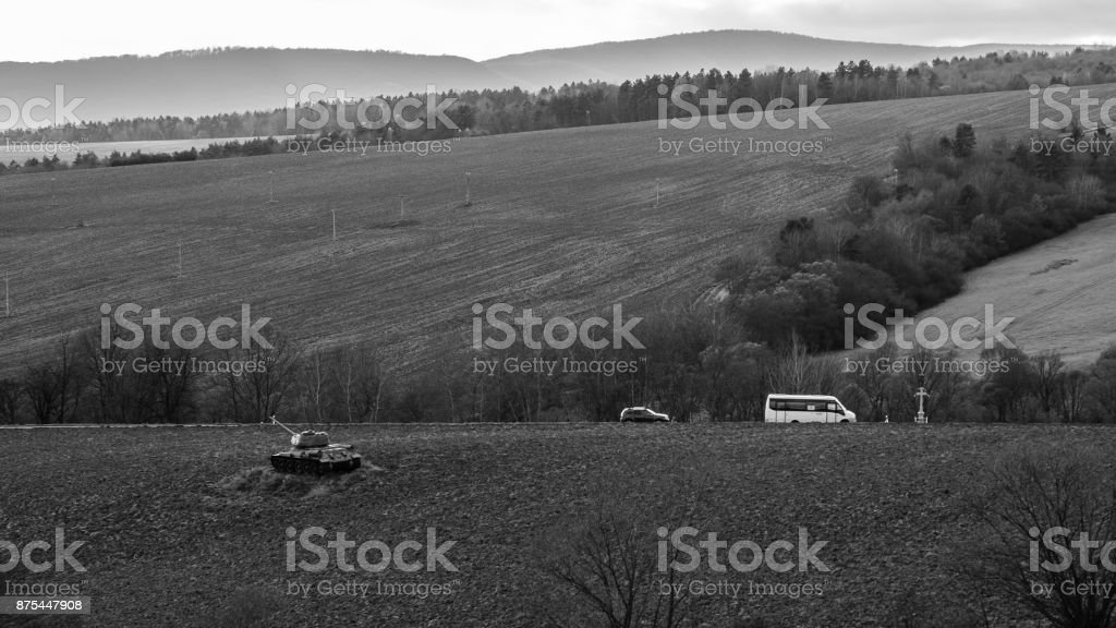 World War Ii Tanks On A Field As A Battle Monument Stock Photo