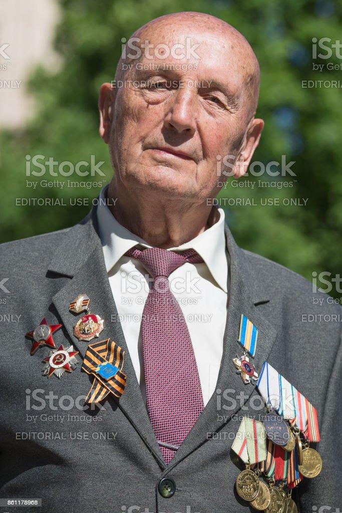 World War II veterans on parade in Kiev, Ukraine stock photo