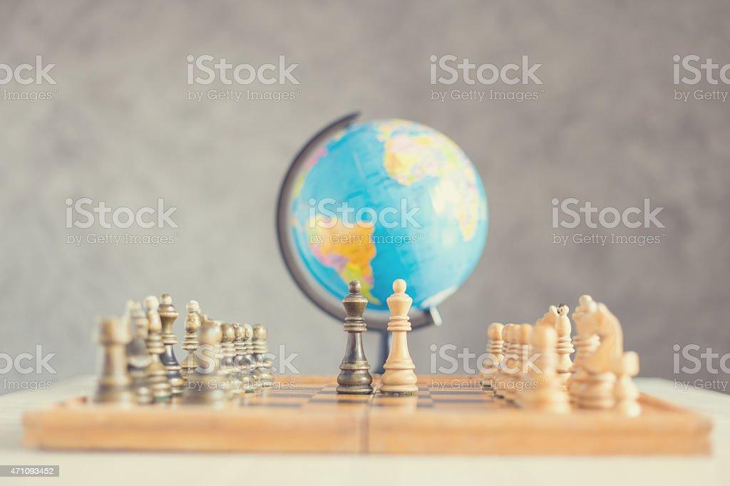 World war in chess stock photo