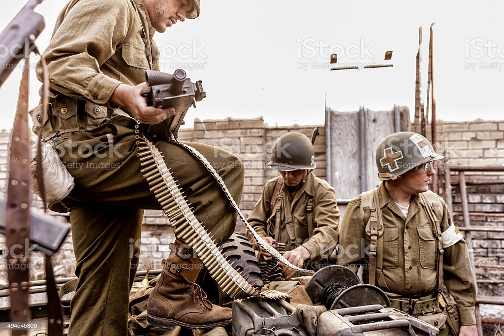 World War ll soldiers preparing for war. stock photo