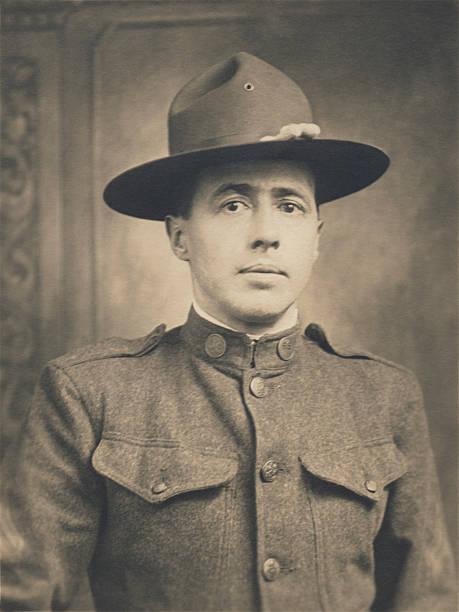 Sacs de paquetage de la Première Guerre mondiale, un, Portrait de nous militaires soldat - Photo
