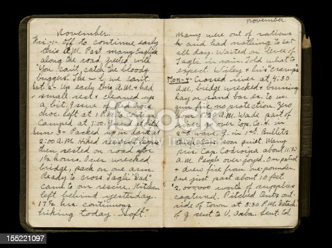 istock World War One Soldier's Diary Pages 155221097