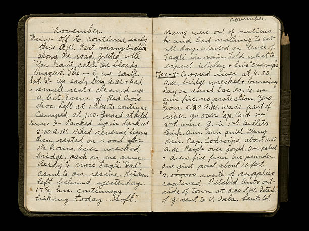 World War One Soldier's Diary Pages stock photo