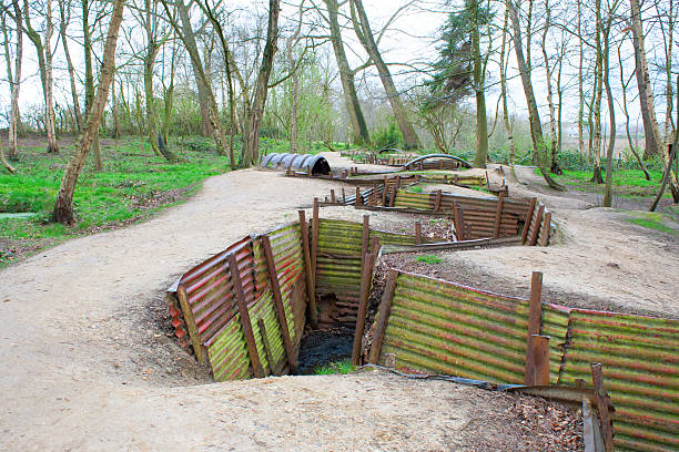 world war one trenches on hill in flanders fields Belgium stock photo