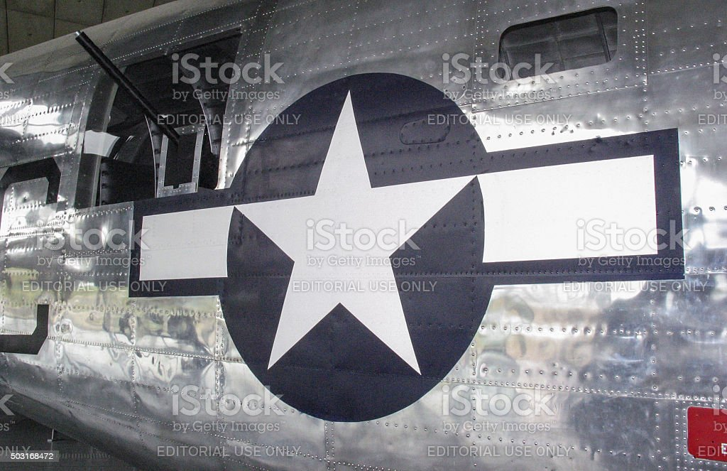 World War Two Aircraft Fuselage with Gun Turret stock photo