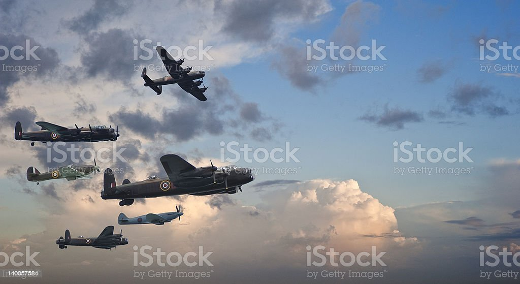 World War Two British vintage flight formation stock photo