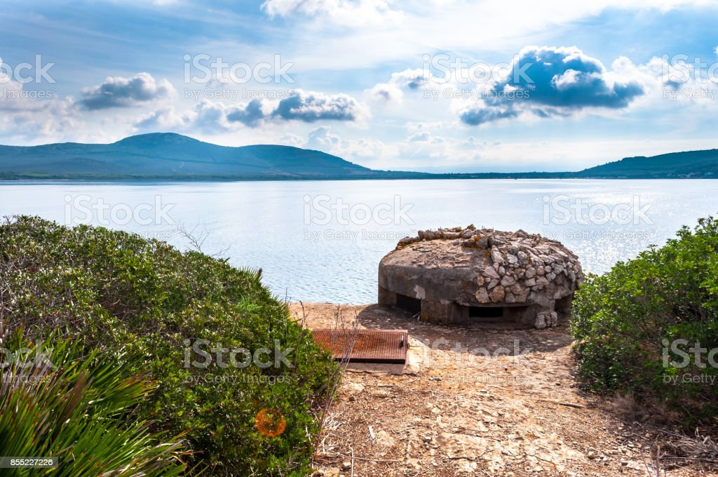 World war two bunker on the coast stock photo