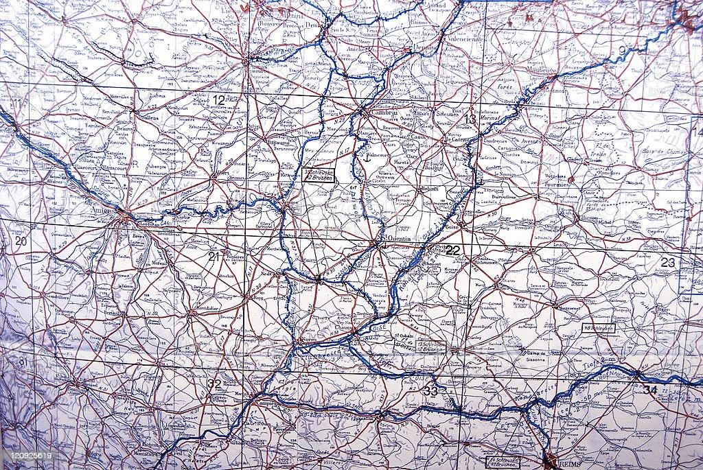 World War Two German Map stock photo
