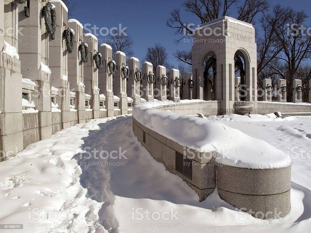 World War Two Memorial-Winter stock photo