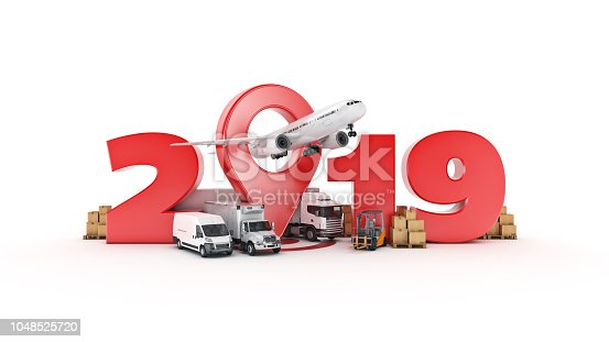 istock world wide cargo transport concept. 2019 New Year sign. 3d rendering. 1048525720