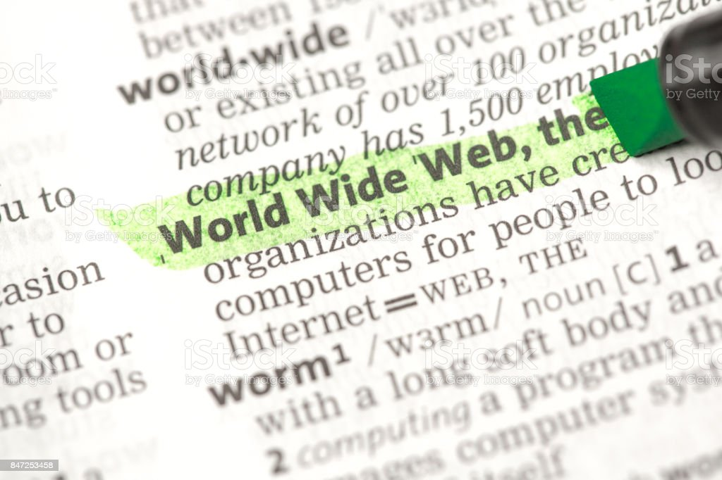 World Wide Web definition highlighted in green stock photo