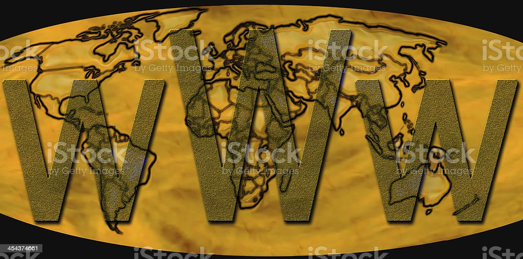 World Wide Web on Golden Word Map royalty-free stock photo