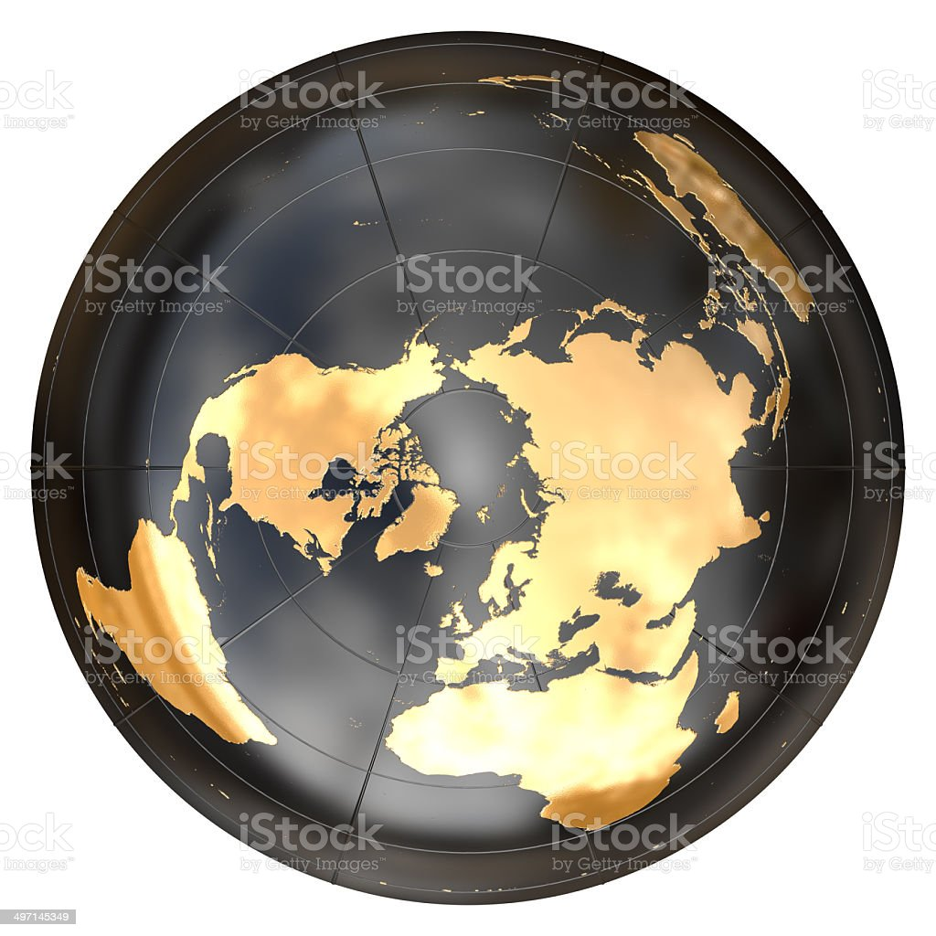 Worldmap in azimuthal projection ( North Pole) stock photo