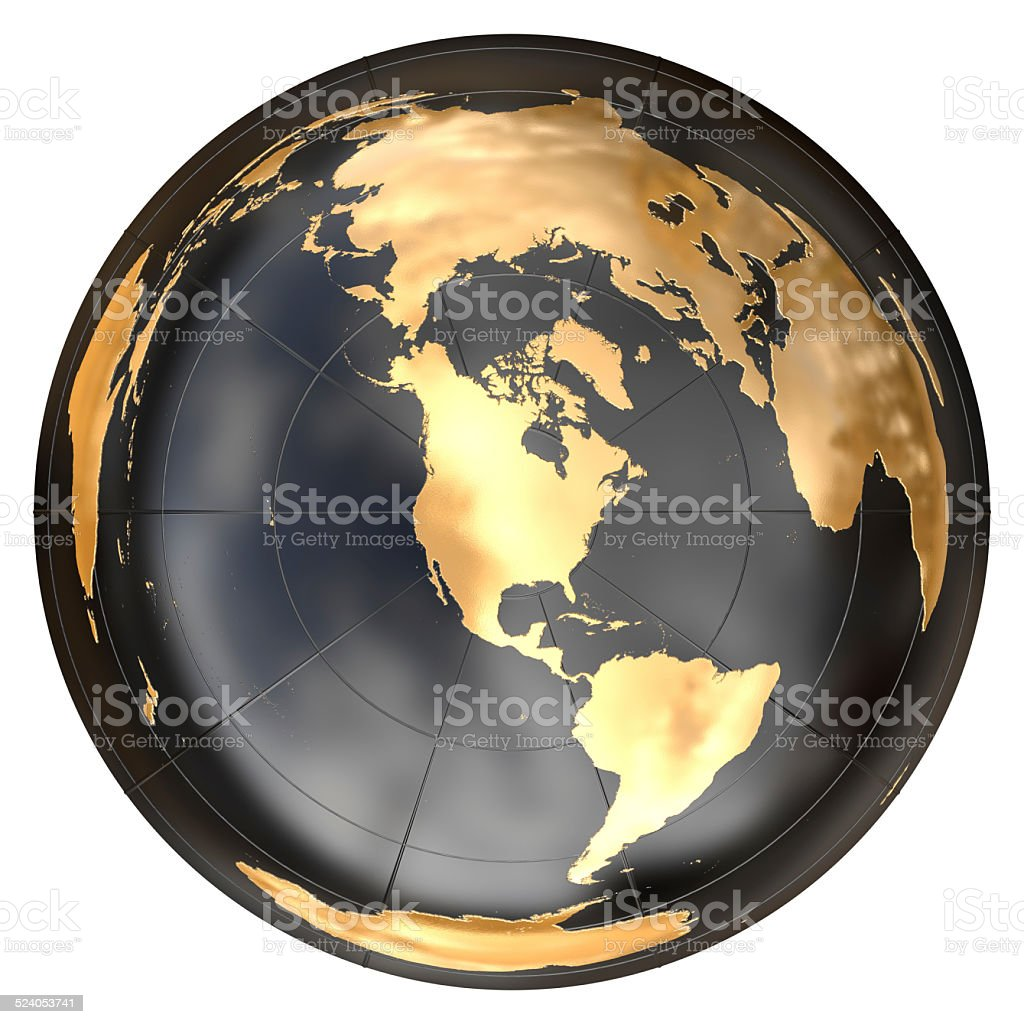 Worldmap in azimuthal projection (north america) stock photo