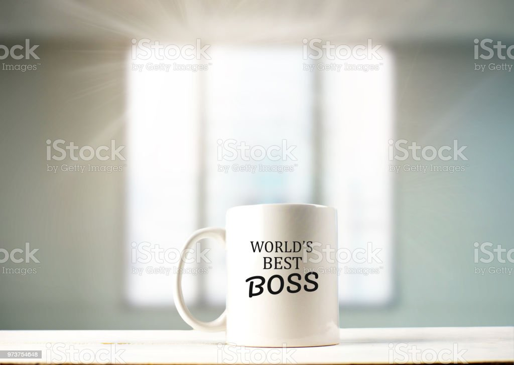 World's best boss text on coffee mug in coffeee stock photo