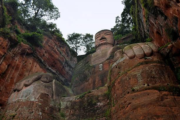 World's biggest Buddha in Leshan, China stock photo