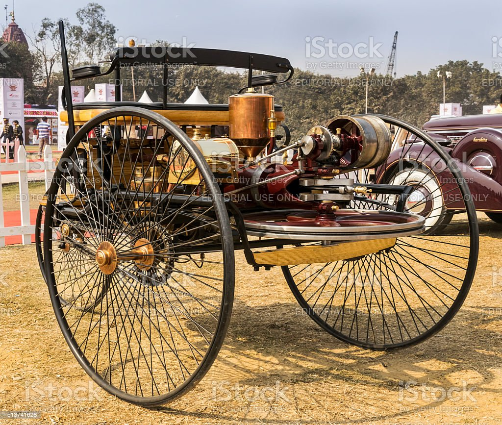 Worlds first petrol-fuelled automobile vehicle the Motorwagen (motorcar) 1886 stock photo