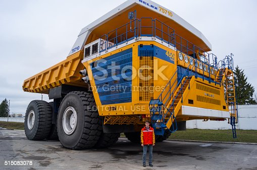 istock World's Largest Huge Truck BelAZ with man for scale 515083078