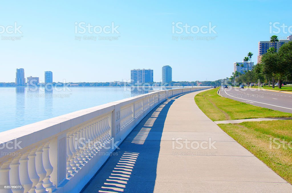 World's longest continuous sidewalk Bayshore Blvd. Tampa Florida stock photo