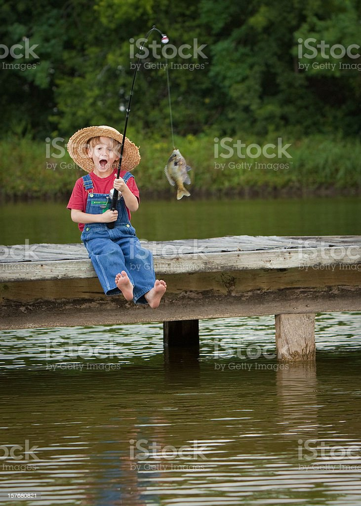 World's Most Excited Little Fisherman stock photo