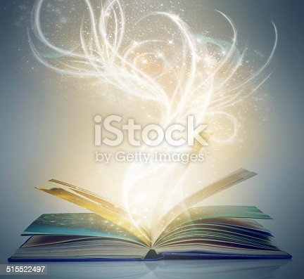 A book on an isolated background with a bright,magical glow emanating from it