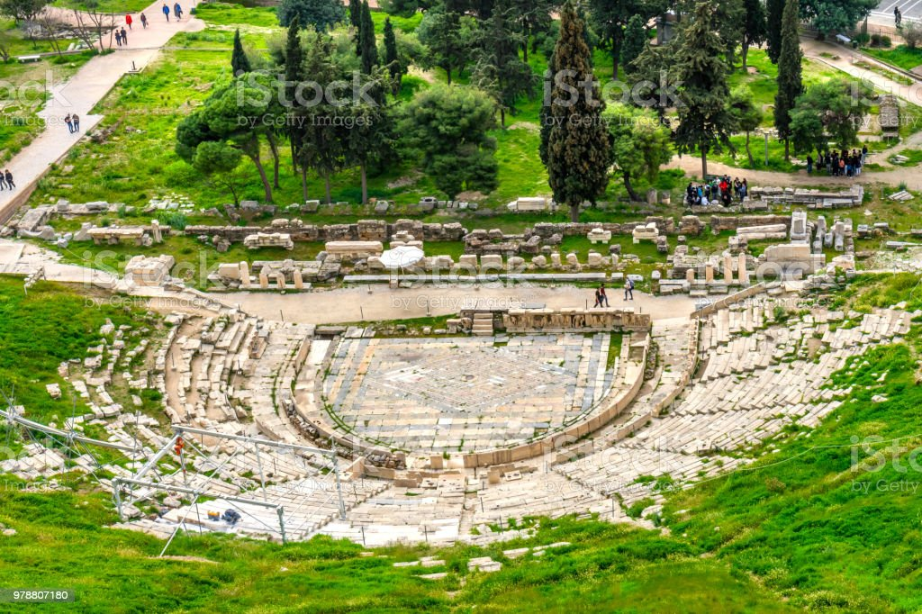 World's Oldest Theater of Dionysus Acropolis Athens Greece stock photo