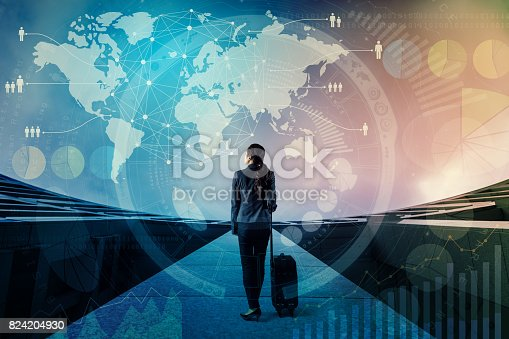istock worldwide business concept. young business woman standing on rooftop of building with fee suitcase. smart city. internet of things. abstract mixed media. 824204930