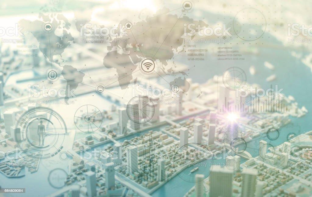 wereldwijde grafische interface, IoT (Internet van dingen), ICT (informatie-communicatie-technologie), digitale transformatie, abstracte achtergrond foto