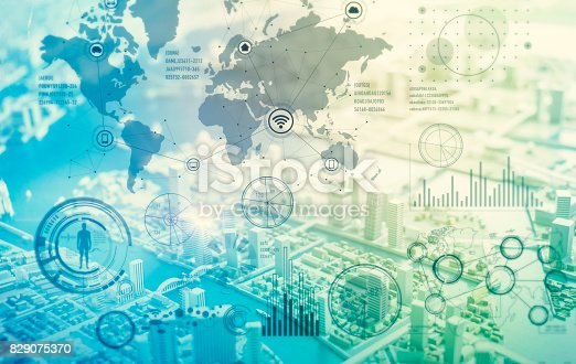 istock worldwide business graphical interface, IoT(Internet of Things), ICT(Information Communication Technology), digital transformation, abstract background 829075370