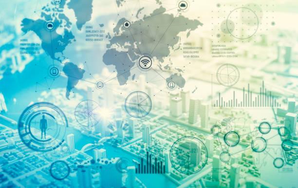 interface gráfica de negócios em todo o mundo, muitos (a Internet das coisas), TIC (tecnologia da informação comunicação), a transformação digital, abstrato - foto de acervo
