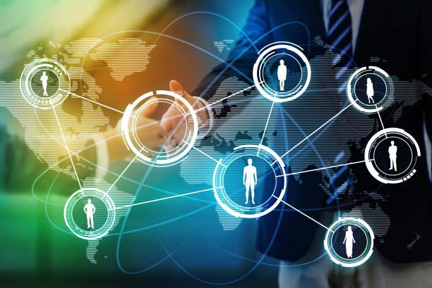 conceito de rede de negócios em todo o mundo, serviço de rede social, imagem abstrata visual - foto de acervo