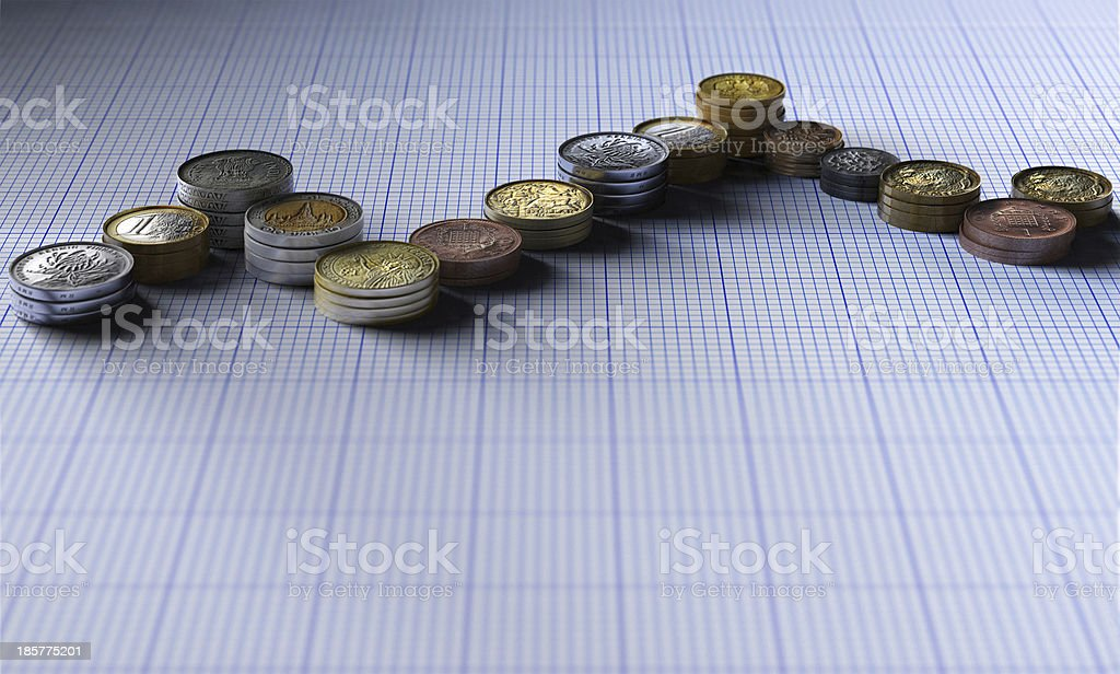 worldwide coins forming graph stock photo