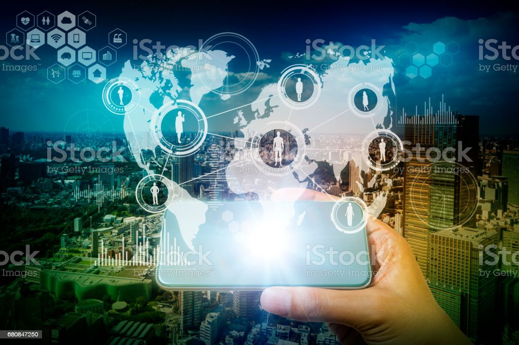 worldwide communication network concept, modern cityscape and smart phone, abstract image visual stock photo