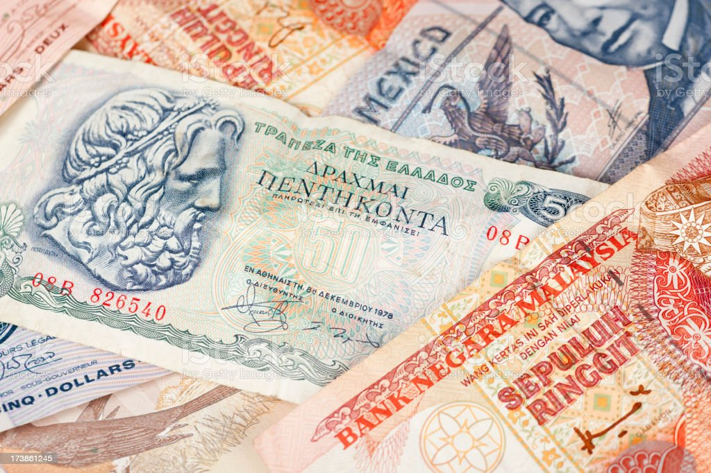Worldwide Currency, Paper Money, Commerce, Travel Background royalty-free stock photo