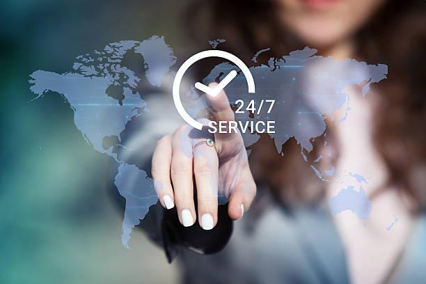 24/7 worldwide customer service support. - foto de acervo