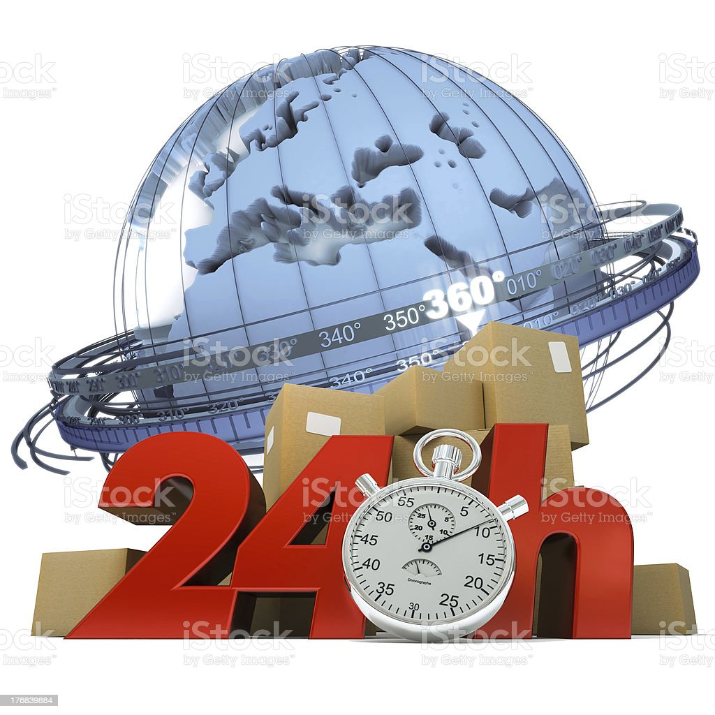 Worldwide delivery in 24 Hrs royalty-free stock photo