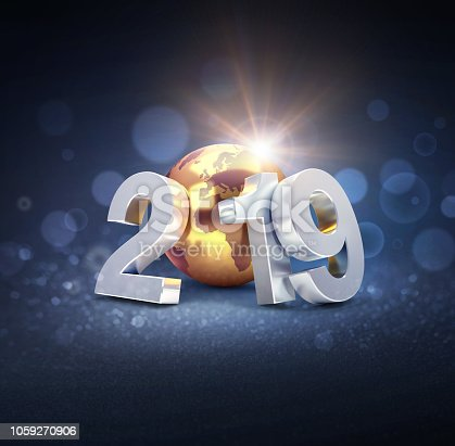 istock Worldwide greeting symbol for 2019 New Year card 1059270906