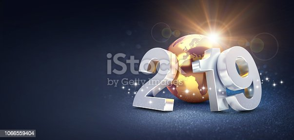 istock Worldwide greeting symbol for 2019 New Year card 1066559404