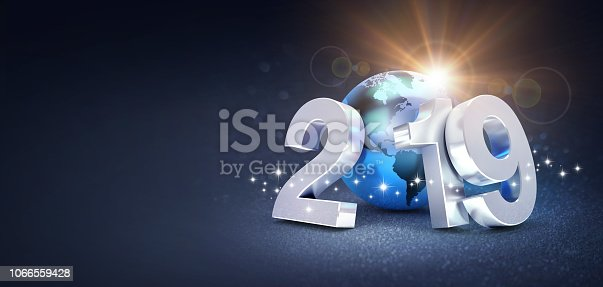 istock Worldwide greeting symbol for 2019 New Year card 1066559428