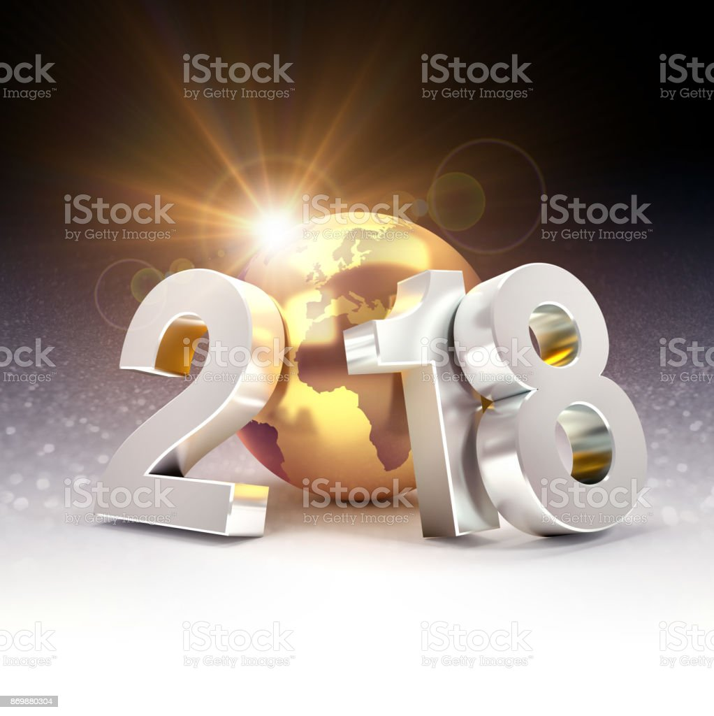 2018 Worldwide greeting symbol stock photo